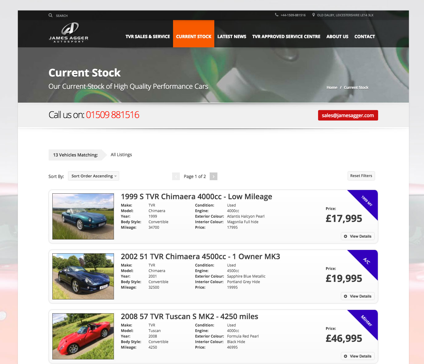 Wordpress Driven Used Car Stock List