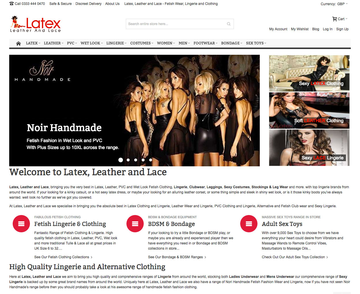 B2C Retail Magento Store Latex Leather and Lace