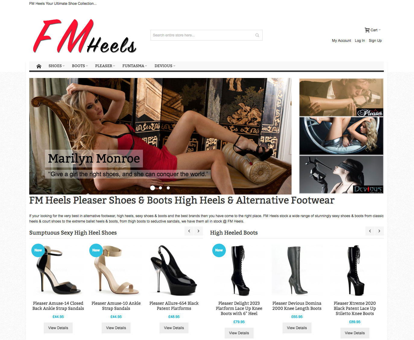 FM Heels Womens Shoes Store Complex Configurable Products on Magento