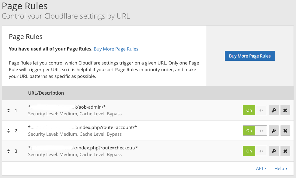 Cloudflare Page Rules for OpenCart Secure Areas Admin Customer Accounts and Checkout
